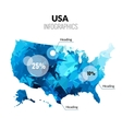 USA America polygonal triangle blue map vector image vector image