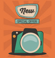 vintage card new special offer camera photografic vector image