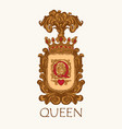 vintage coat arms with crown and letter q vector image