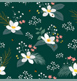 vintage floral with tropical leaves on dark green vector image vector image