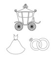 wedding and attributes outline icons in set vector image vector image