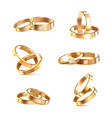 wedding rings realistic set vector image vector image
