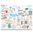 Winter season set doodles elements Hand drawn set vector image