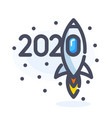 2020 new year numbers cartoon design with flying vector image