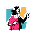 A fashionable girl businesswoman icon abstract