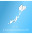 Boy and girl flying with balloons vector image vector image