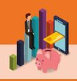 businessman sit on chart piggy bank card cellphone vector image