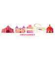 carnival funfair with circus and roller coaster vector image