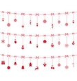 christmas red ornaments hanging vector image vector image