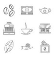 coffee shop icon set outline style vector image