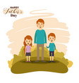 colorful card of landscape with dad and daugther vector image