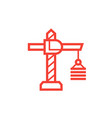 construction crane icon on white linear style vector image