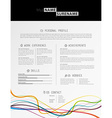 Creative simple cv template with black stripe in vector image vector image