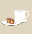 cup of coffee or tea with roll vector image vector image