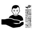 Customer Support Hand Flat Icon With Bonus vector image vector image