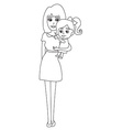 Doodle mom and baby vector image