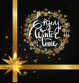 enjoy winter time inscription written in frame vector image vector image