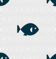 fish icon sign Seamless pattern with geometric vector image