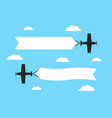 flying airplanes with advertising banners planes vector image