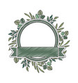 frame with leafs and ribbon isolated icon vector image