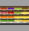 fresh fruits display on shelf in supermarket vector image vector image
