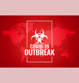 global novel corobavirus outbreak red background vector image vector image