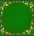 green background with golden leaves vector image
