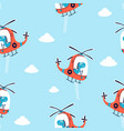 hand drawing helicopter and cute dinosaur pattern vector image