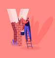 happy smiling woman stand on ladder holding bucket vector image vector image