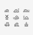 house icon set farm agriculture building symbol vector image