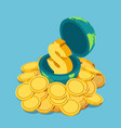 isometric golden dollar sign inside world on vector image