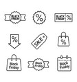 line black friday icons set on white background vector image vector image