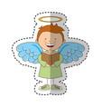 little boy angel character vector image vector image