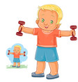 little boy doing morning exercise with vector image