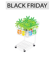Lovely Tree Pot in Black Friday Shopping Cart vector image vector image