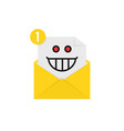 mad emoji in yellow letter notification vector image vector image