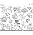 one a kind game with marine animals color book vector image vector image