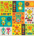 pattern with colorful robots vector image vector image