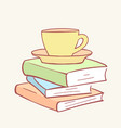 pile stack cup mug coffee tea books hand drawn vector image