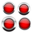 red buttons with chrome frame round glass shiny vector image vector image