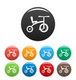 retro tricycle icons set color vector image