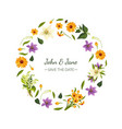 save date floral round frame with beautiful vector image vector image