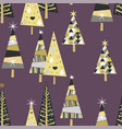 seamless pattern with golden spruce trees and vector image vector image
