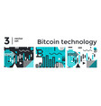 set abstract background bitcoin technology vector image vector image