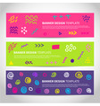 set abstract memphis style retro banners vector image