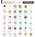 set flat school education icons vector image
