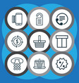 set of 9 ecommerce icons includes price vector image