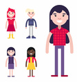 Set of Female Avatars and Icons Flat Style vector image vector image