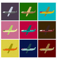set of flat icons in shading style aircraft vector image vector image