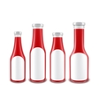 Set of Red Tomato Ketchup Bottles with labels vector image vector image